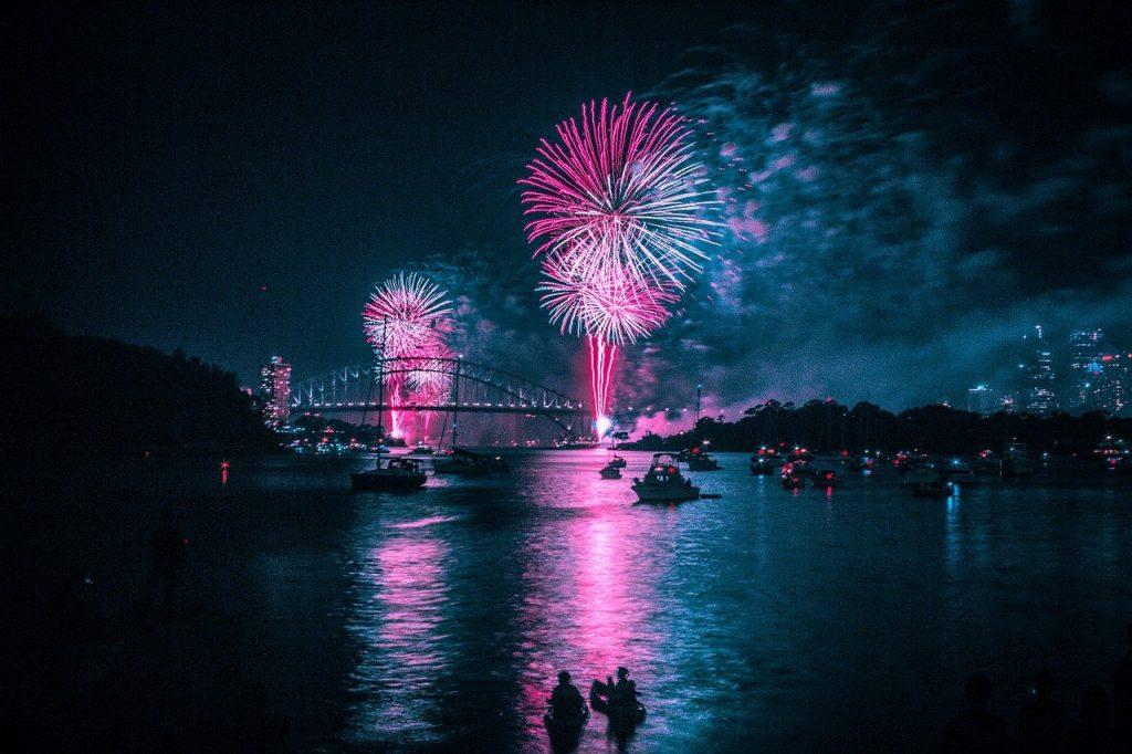 fireworks, harbour, blue